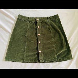 Corduroy button mini skirt
